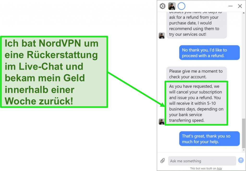 Screenshot eines Kunden, der eine Rückerstattung mit der 30-tägigen Geld-zurück-Garantie im NordVPN-Live-Chat beantragt