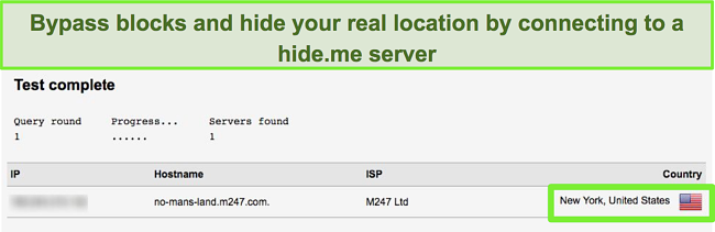 Screenshot of Hide Me VPN connected to a New York server in the US and passing a leak test
