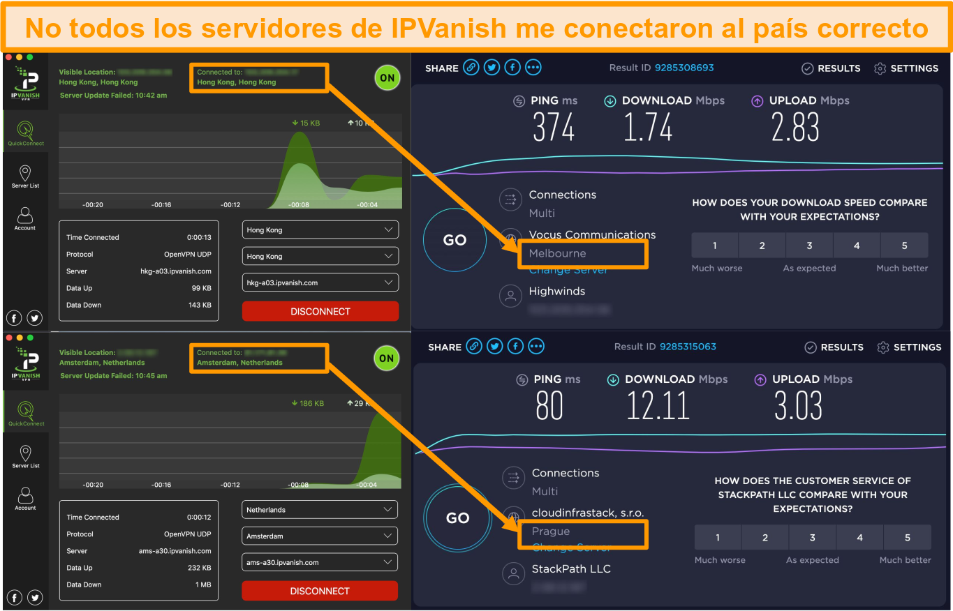 Screenshot of IPVanish app displaying incorrect server locations