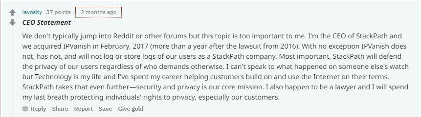 Scrennshot of IPVanish's CEO Lance Crosby responding to critics on Reddit