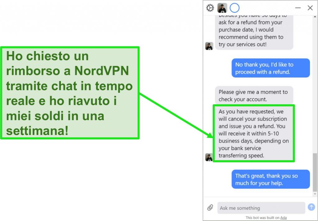 Screenshot di un rimborso avviato e approvato tramite la live chat dell'assistenza clienti di NordVPN