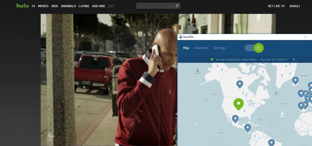 Screenshot NordVPN arbeitet mit Hulu zusammen