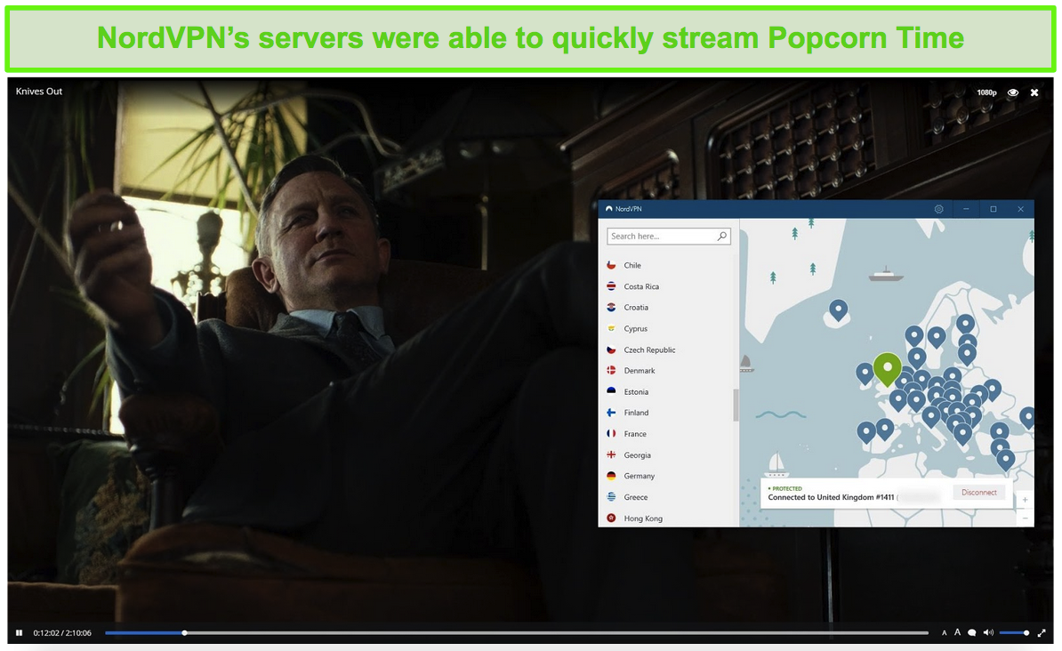 Screenshot of NordVPN protecting Popcorn Time while streaming Knives Out