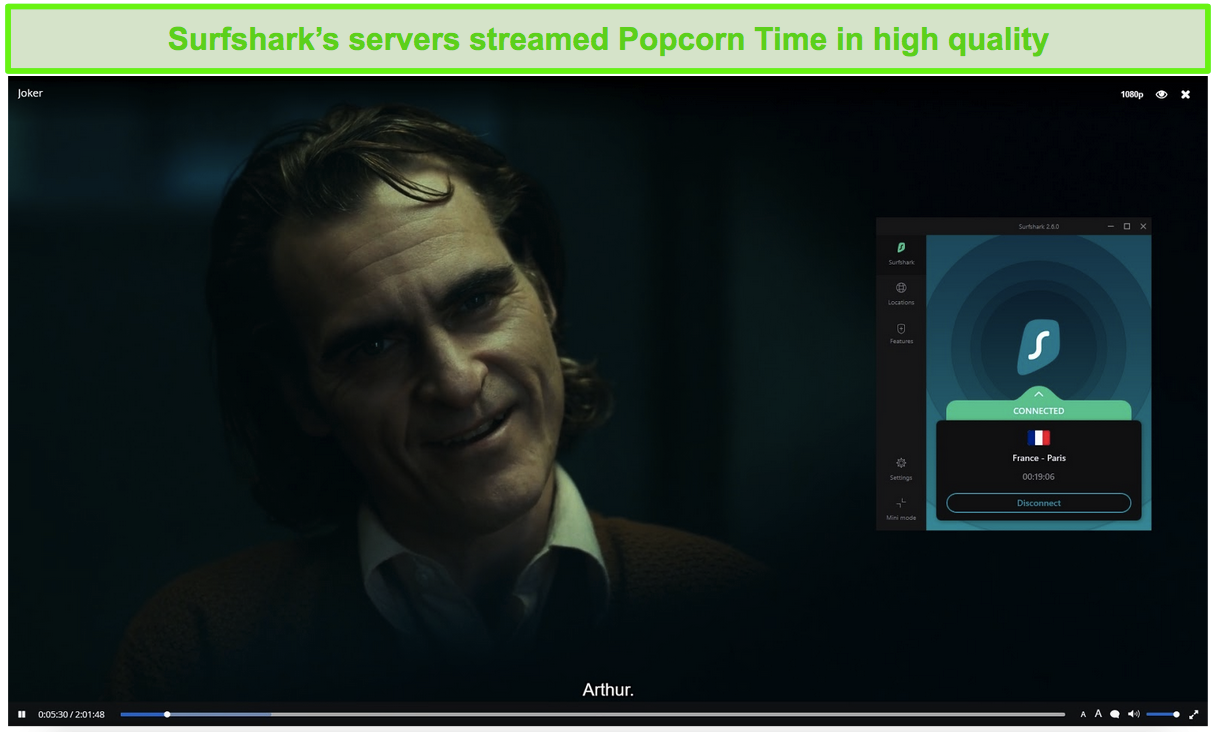 Screenshot of Surfshark protecting Popcorn Time while streaming Joker