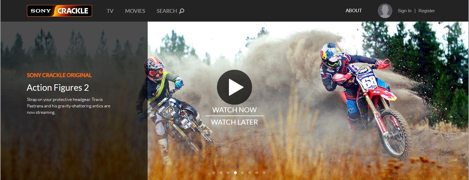 Screenshot of Sony Crackle website
