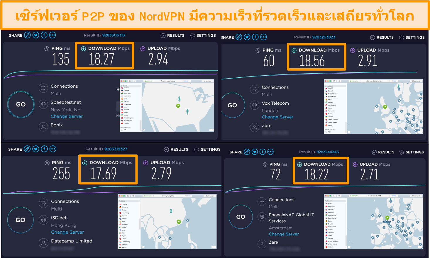 Screenshot of NordVPN servers in the US, UK, Netherlands, and Hong Kong with speed test results