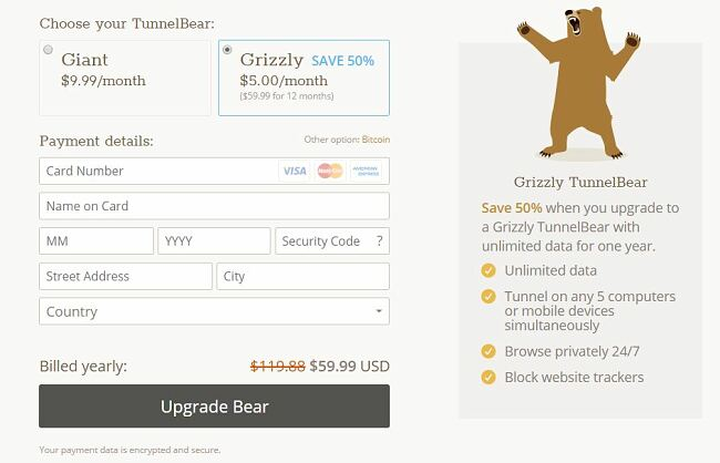 GrizzlyVPN checkout page