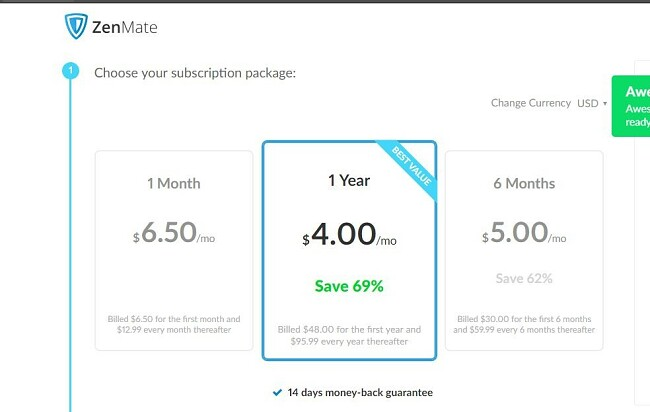 Screenshot of ZenMate price list