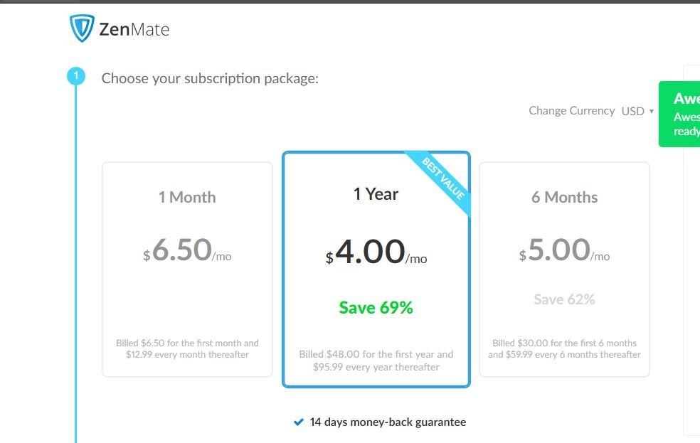 Screenshot of ZenMate price list
