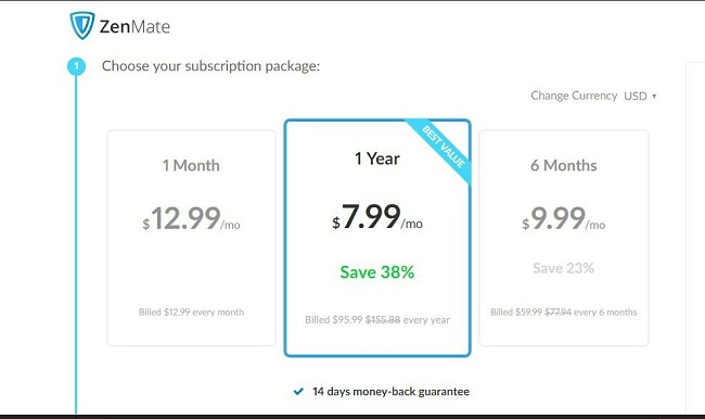 Screenshot of ZenMate subscription package