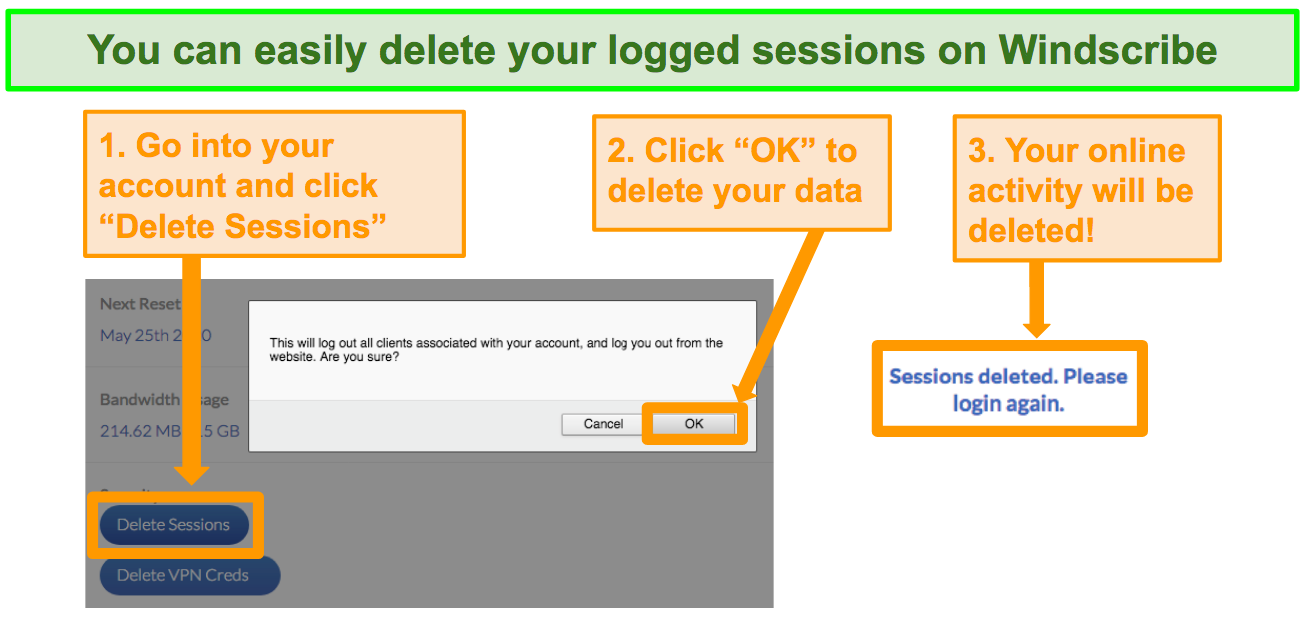 Screenshot of option to delete data on Windscribe account