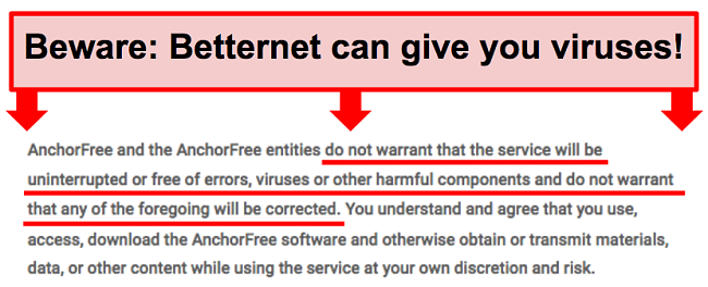 Screenshot of Betternet's terms that do not guarantee protection against malware