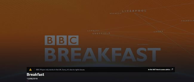 Screenshot of BBCs BBC iPlayer only works in the UK error