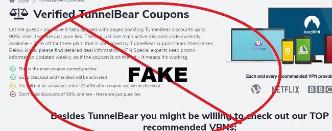 Fake TunnelBear coupon page