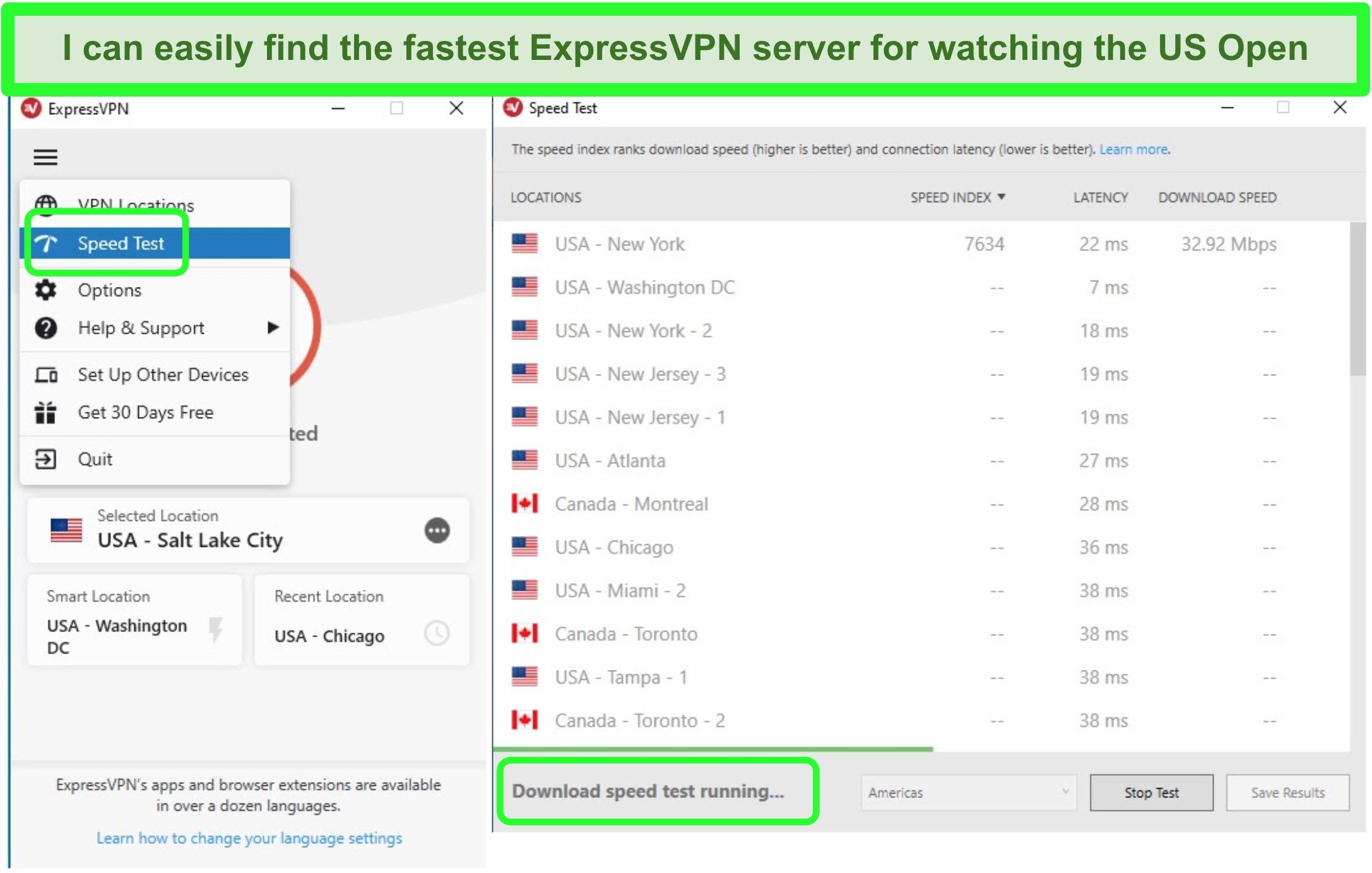 Screenshot of ExpressVPN's built-in speed test feature