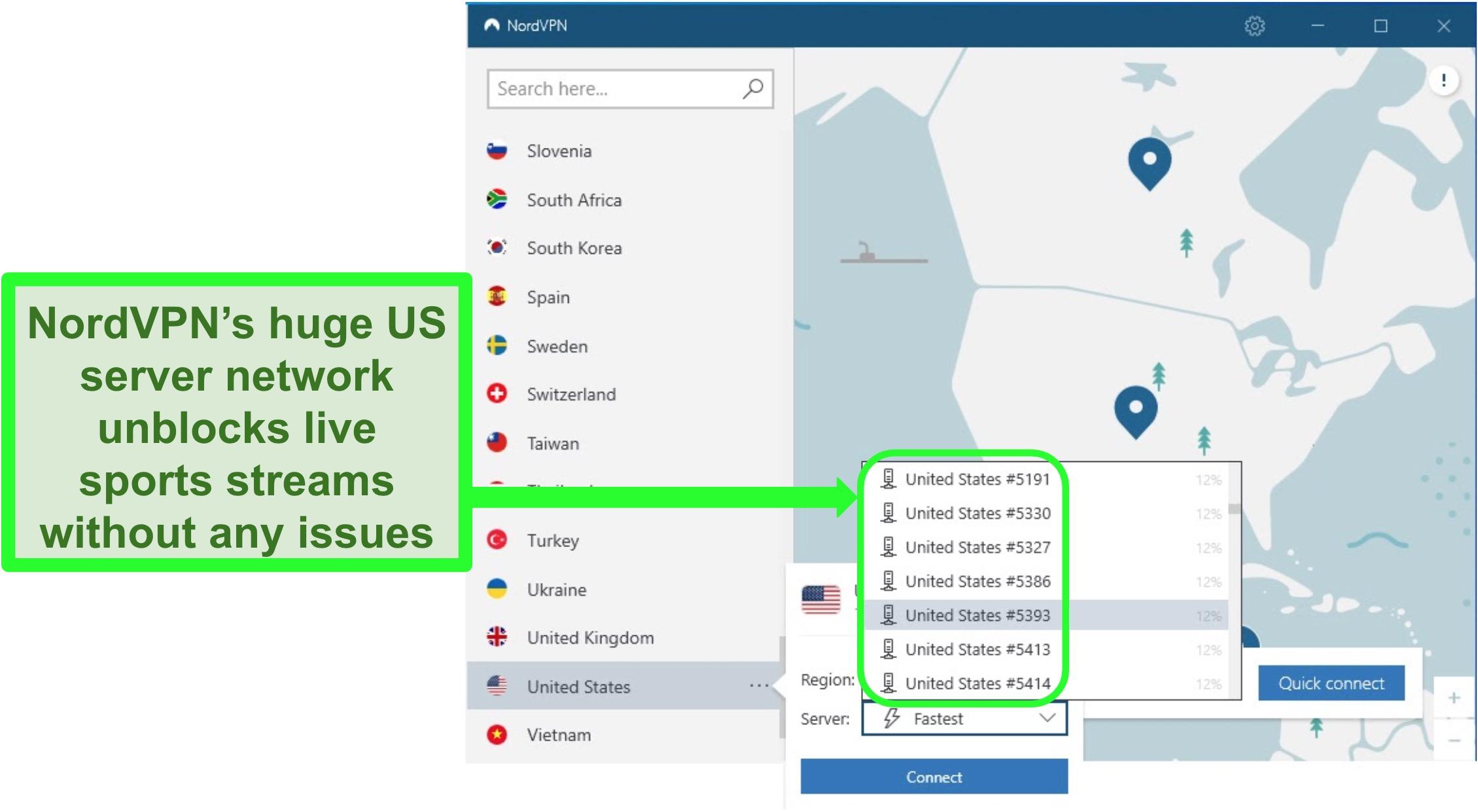Screenshot of NordVPN's US server options