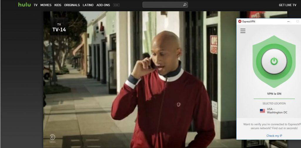 Capture d'écran ExpressVPN fonctionne avec Hulu