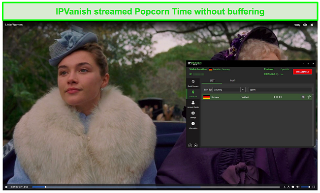Screenshot of IPVanish streaming Little Women on Popcorn Time