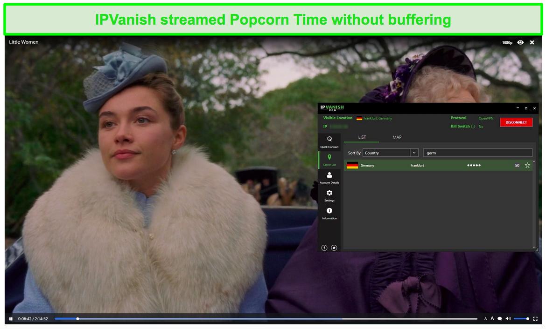 Screenshot of IPVanish streaming Little Women on Popcorn Time