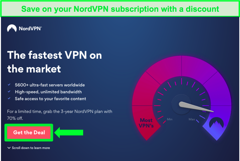 Screenshot of NordVPN's homepage with a discount deal
