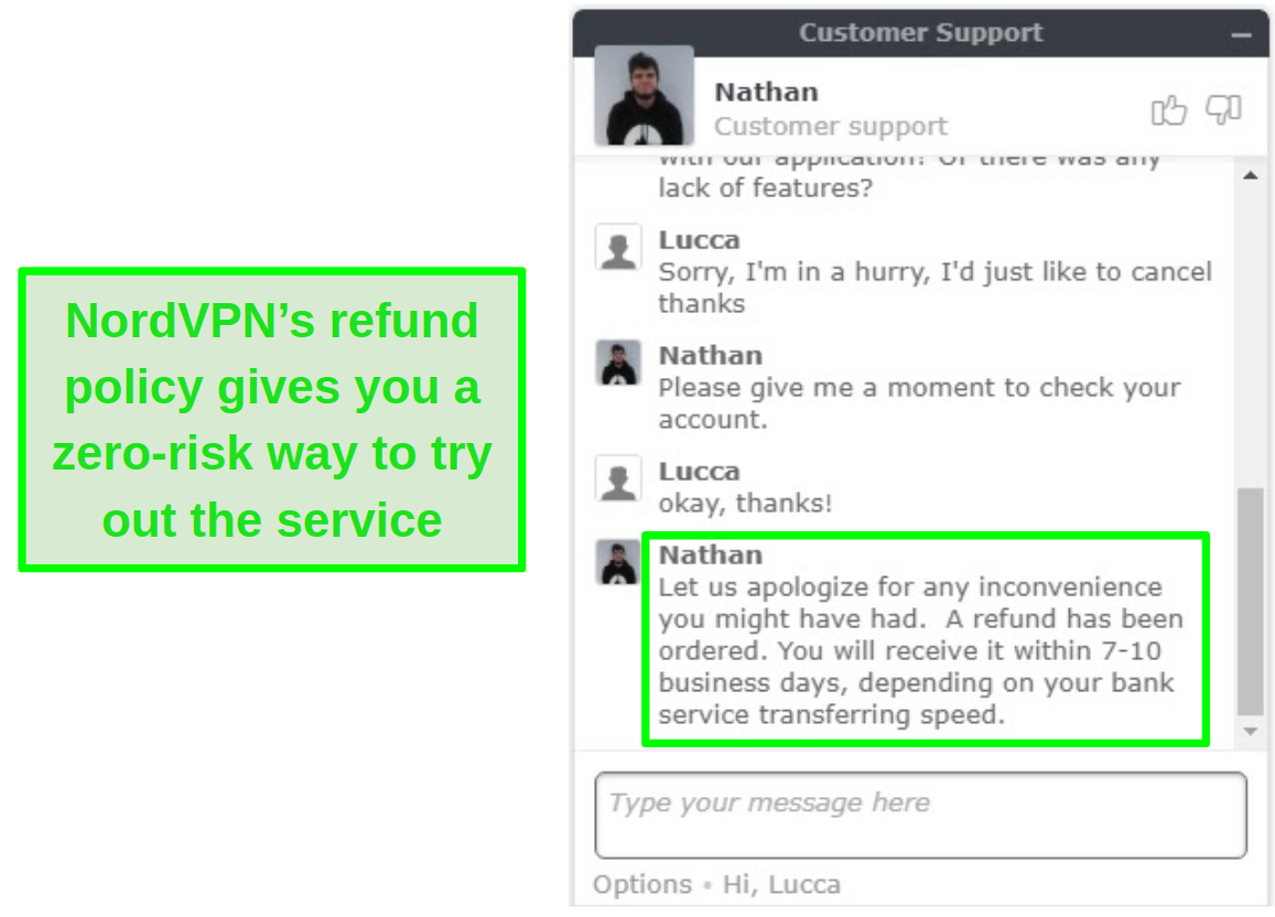 Screenshot of NordVPN customer support approving a refund request via live chat