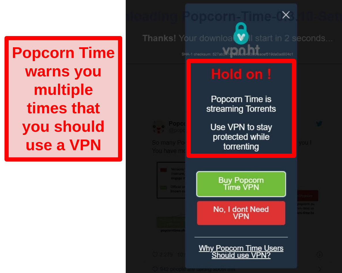 Screenshot of Popcorn Time warning users that they need to use a VPN