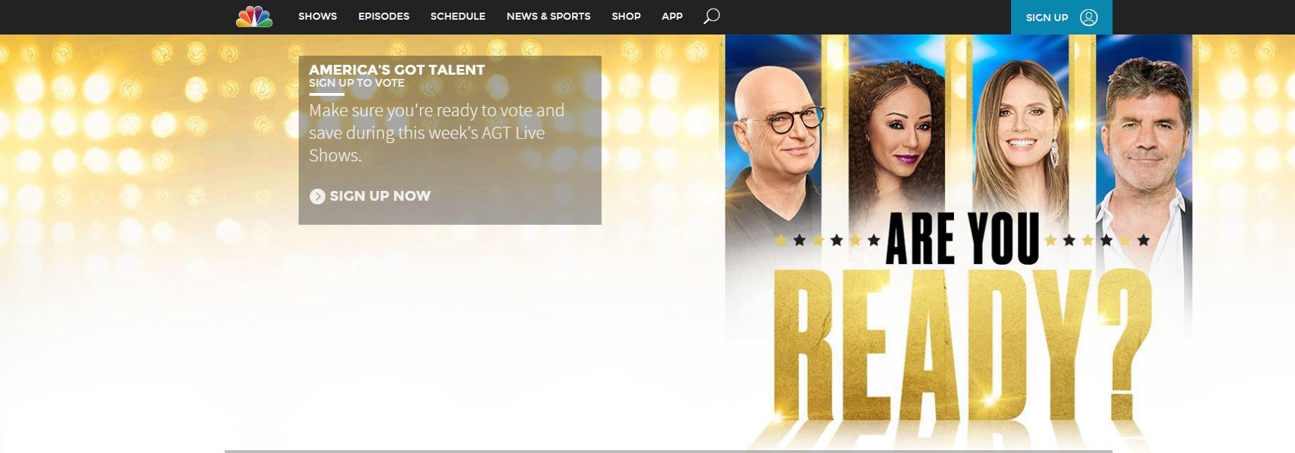 Screenshot of NBC website