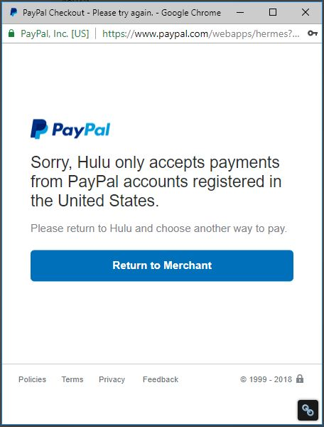 Hulu accepts PayPal US accounts only