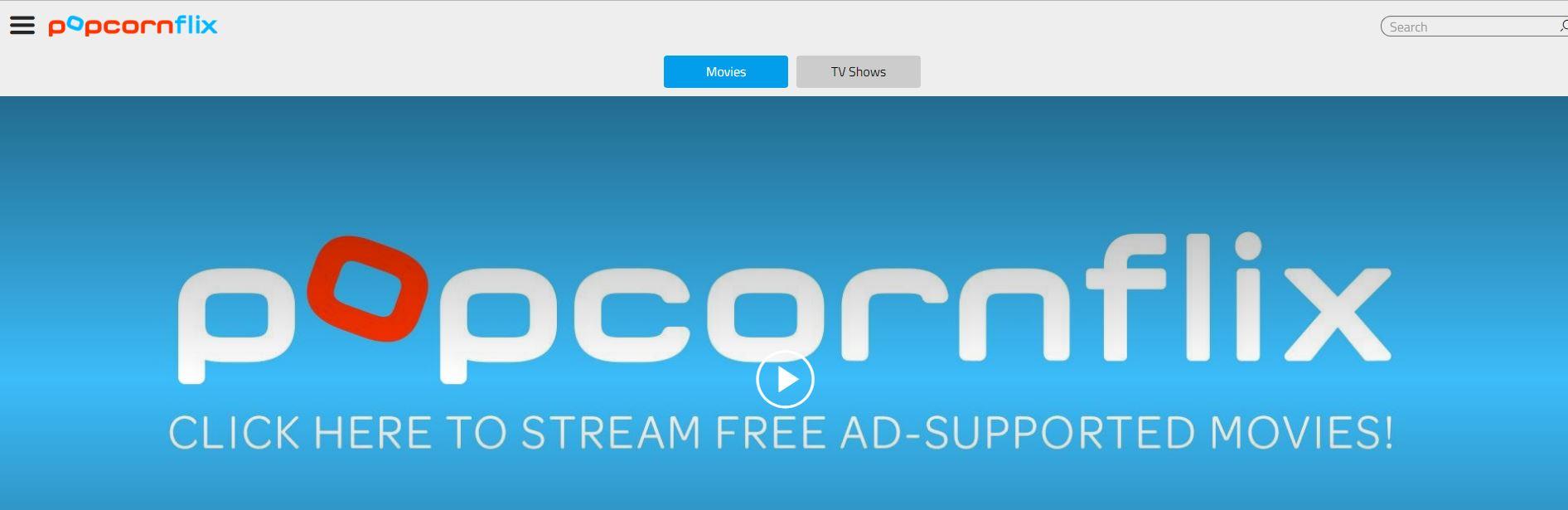 Screenshot of PopcornFlix website