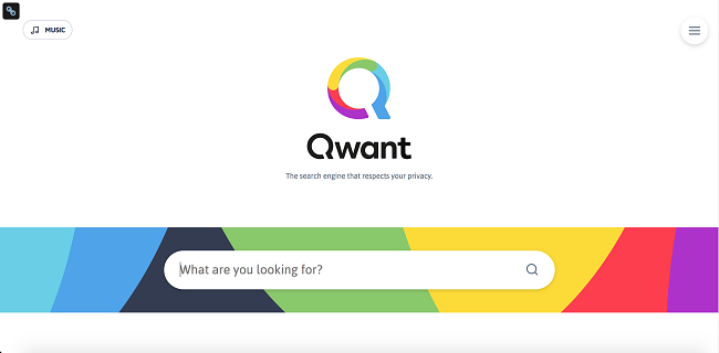 Screenshot of Qwant search engine web page's user interface