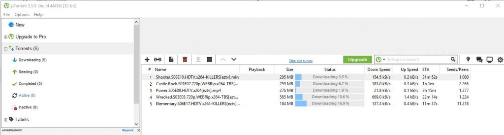 screenshot of utorrent dashboard