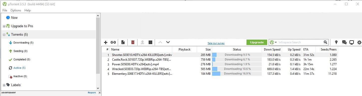 Interfejs użytkownika uTorrent