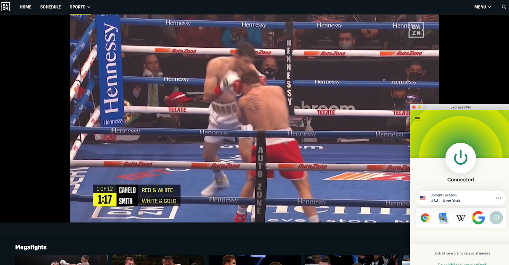Screenshot of expressvpn streaming Canelo vs Smith on DAZN US
