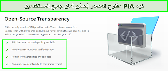 لقطة شاشة لموقع PIA مع تفاصيل حول شفافية كود المصدر المفتوح.