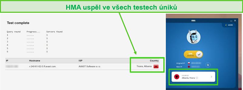 Screenshot van HMA die een DNS-test doorstaat terwijl deze is verbonden met een Albanese server.