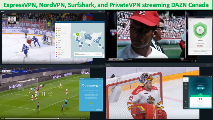screenshots of vpns working with dazn canada