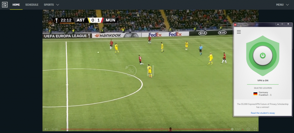 screenshot of ExpressVPN streaming UEFA match with DAZN Germany