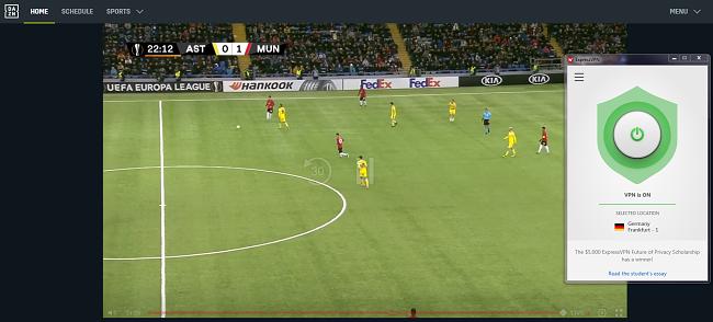 Capture d'écran d'un match de l'UEFA en streaming ExpressVPN avec DAZN Allemagne