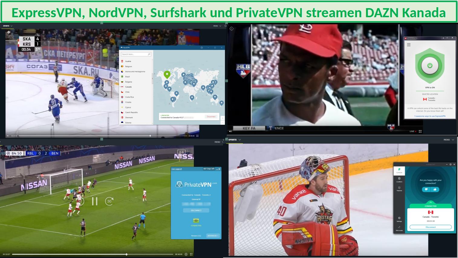 StrStreaming von DAZN mit ExpressVPN, NordVPN, SurfShark und PrivateVPNeaming DAZN with ExpressVPN, NordVPN, SurfShark and PrivateVPN