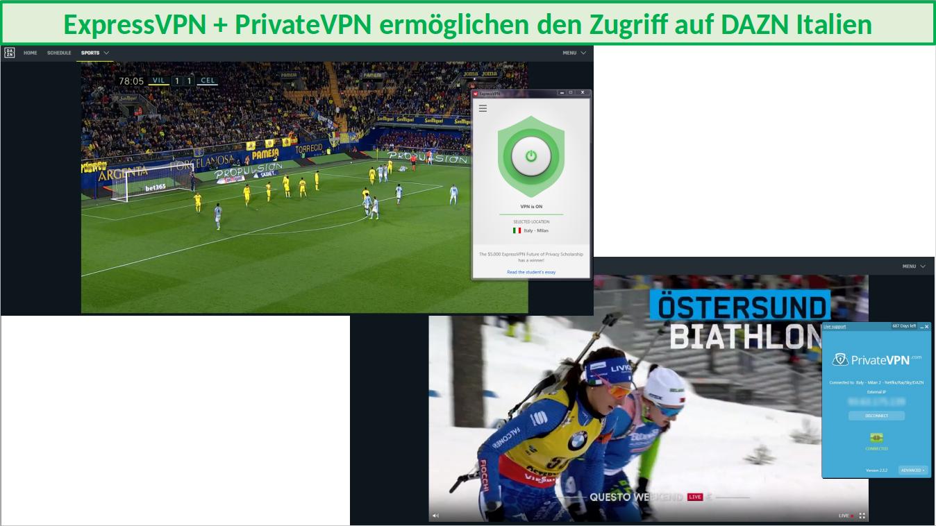 Zugriff auf italienisches DAZN mit ExpressVPN und PrivateVPN