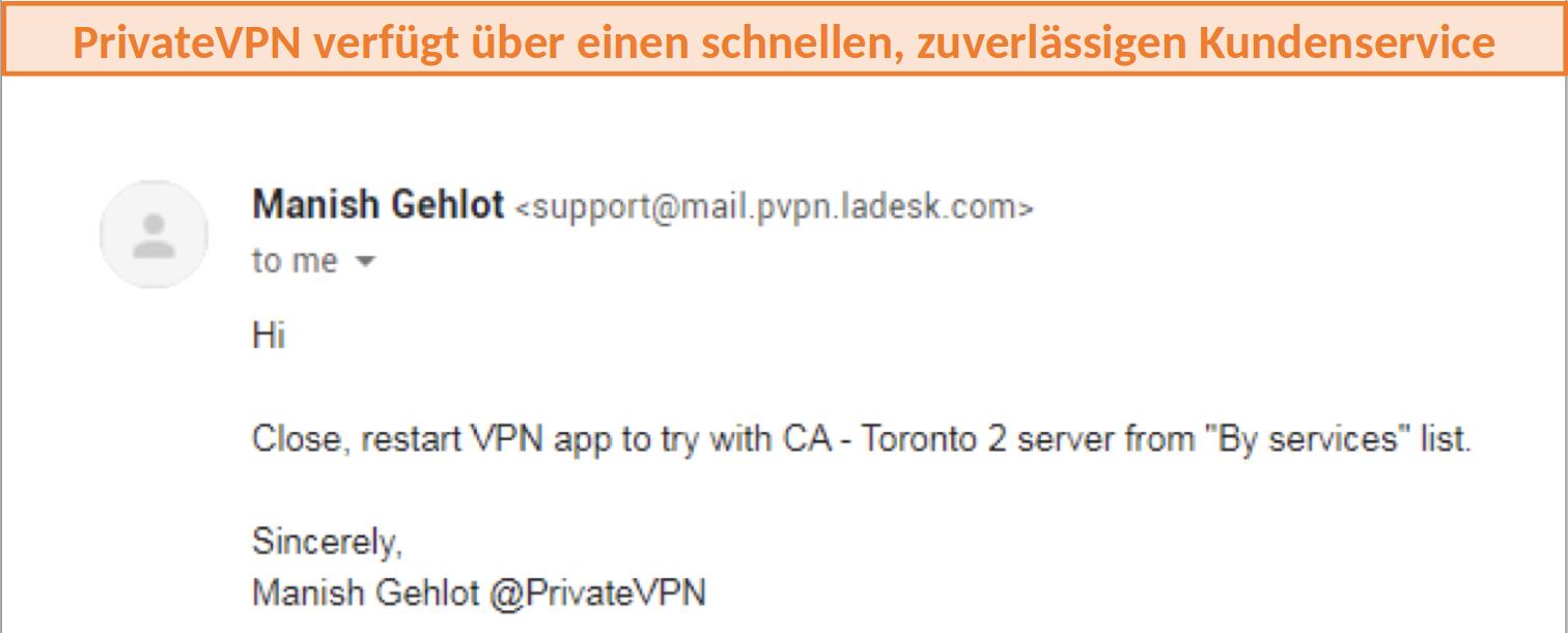 Kundenunterstützung für PrivateVPN
