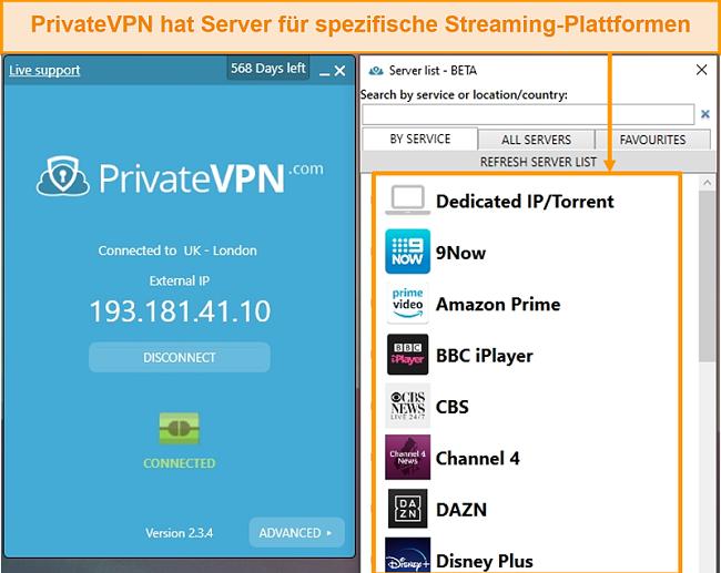 Screenshot der Windows-App von PrivateVPN mit den optimierten Streaming-Servern.