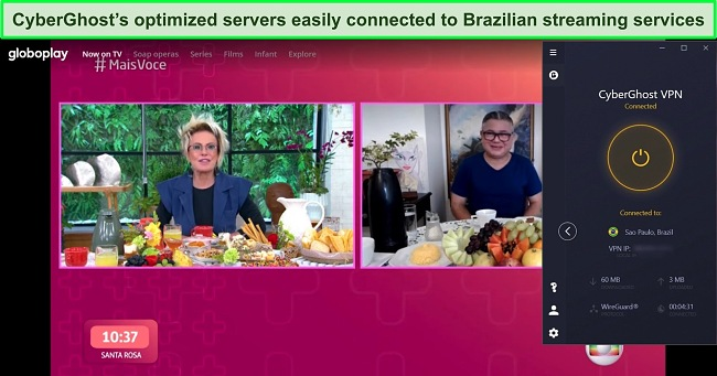 Screenshot of CyberGhost connected to a Brazilian server with GloboPlay streaming in the background