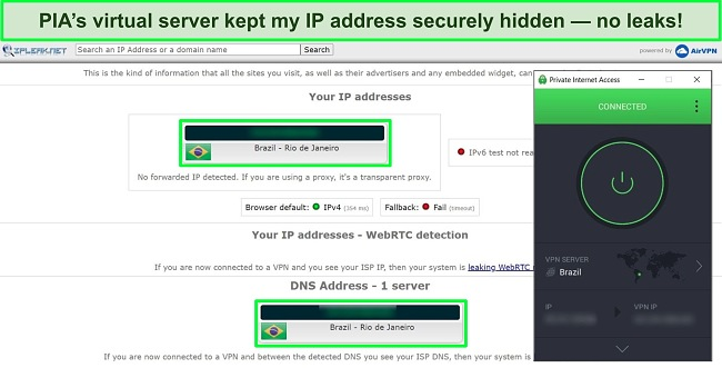 Screenshot of an IP leak test showing no data leaks, with PIA connected to a Brazilian server.