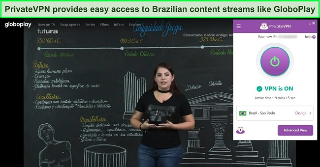 Screenshot of PrivateVPN connected to a Brazilian server with GloboPlay streaming in the background.
