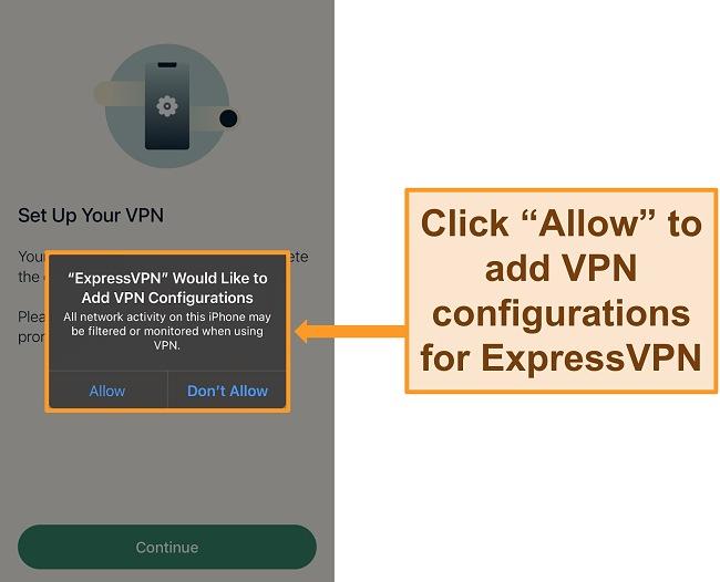 Screenshot of ExpressVPN's iOS app requesting permission to allow VPN configurations.