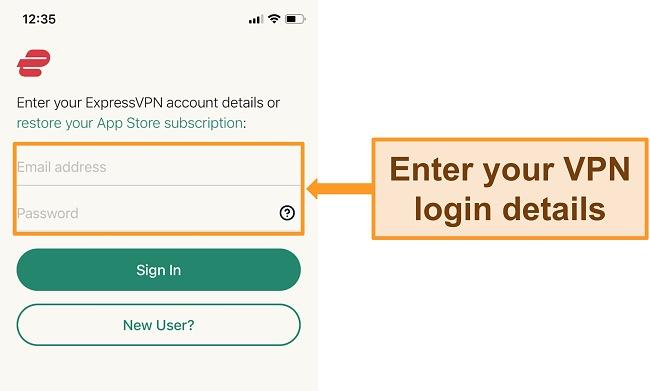 Screenshot of ExpressVPN's iPhone app on the login screen.