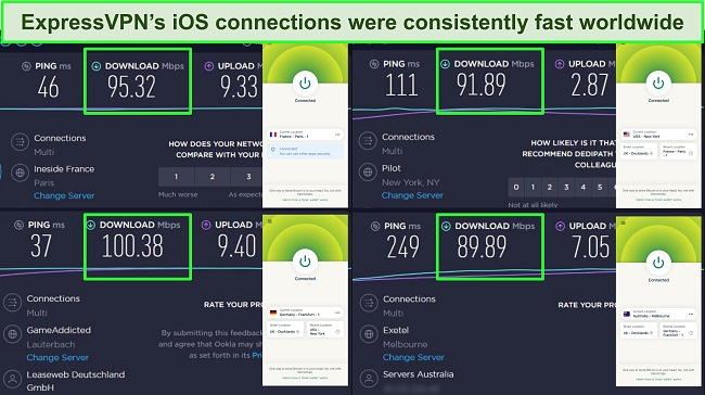 Screenshot of Ookla speed test with ExpressVPN's iOS app connected to multiple servers worldwide.