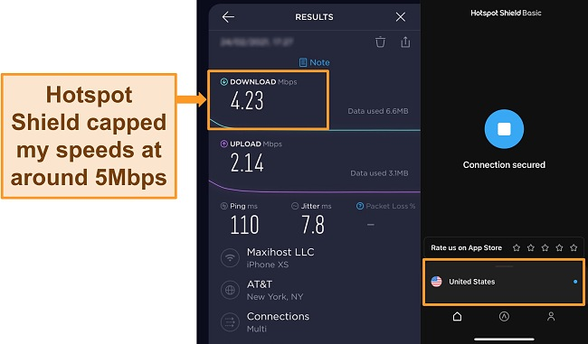 Screenshot of Ookla speed test with Hotspot Shield connected to a US server.