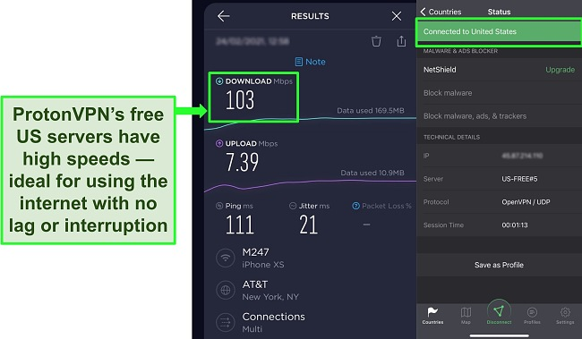 Screenshots of Ookla speed test result when connected to one of ProtonVPN's free US servers.